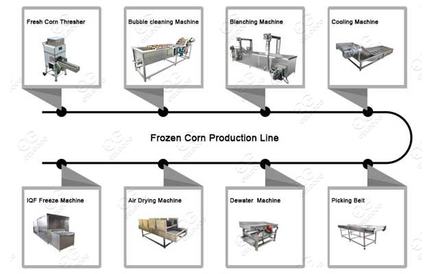 Frozen Corn Production Line With 500KG/H